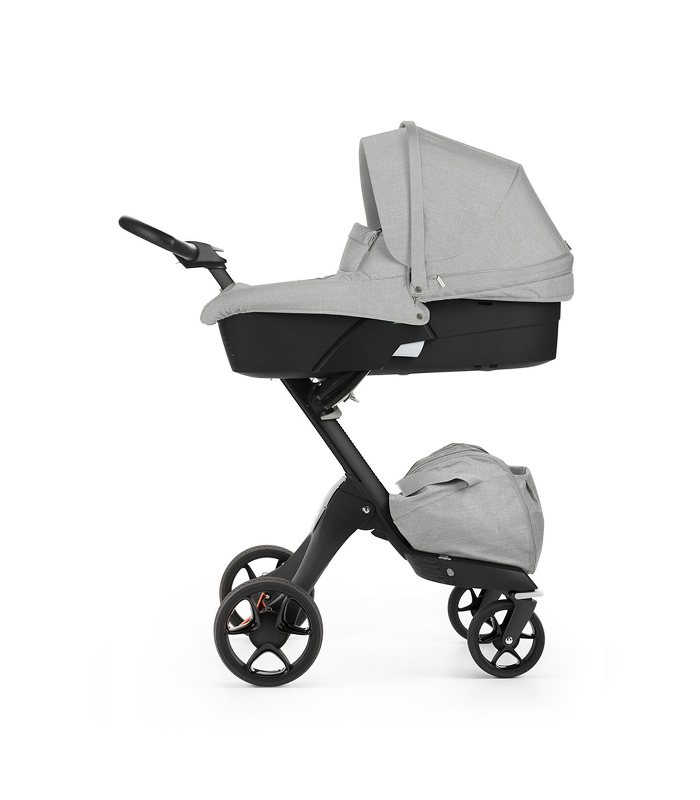 Stokke® Xplory® with Black chassis and Carry Cot, Grey Melange. New wheels 2016.