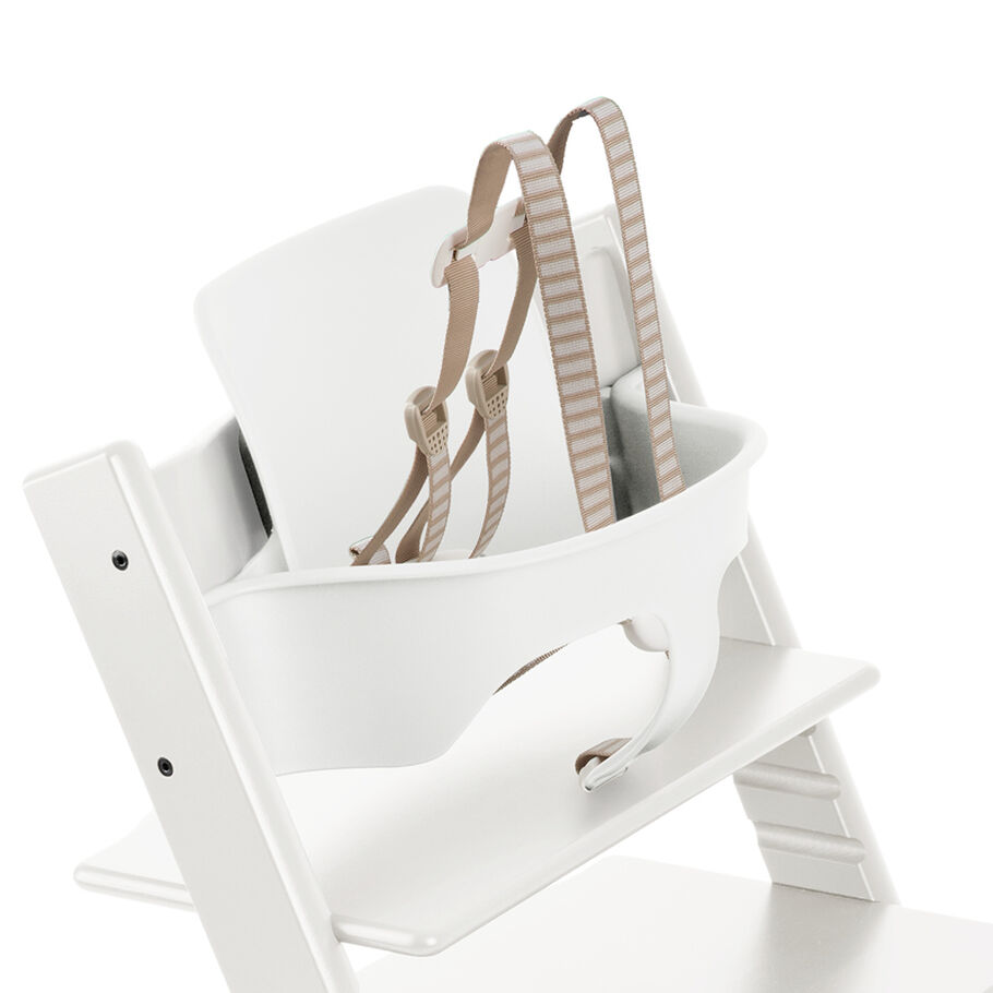 Tripp Trapp®, White, with Baby Set White. Detail. US version.