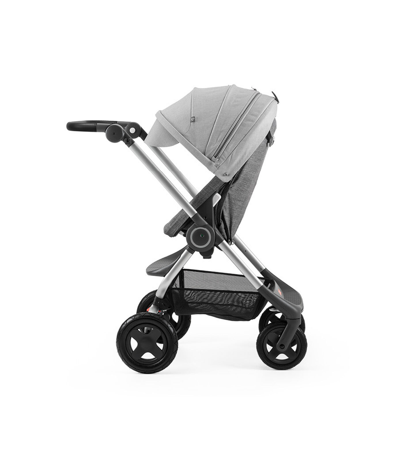 Stokke® Scoot™ Black Melange with Grey Melange Canopy. Parent facing, active position.