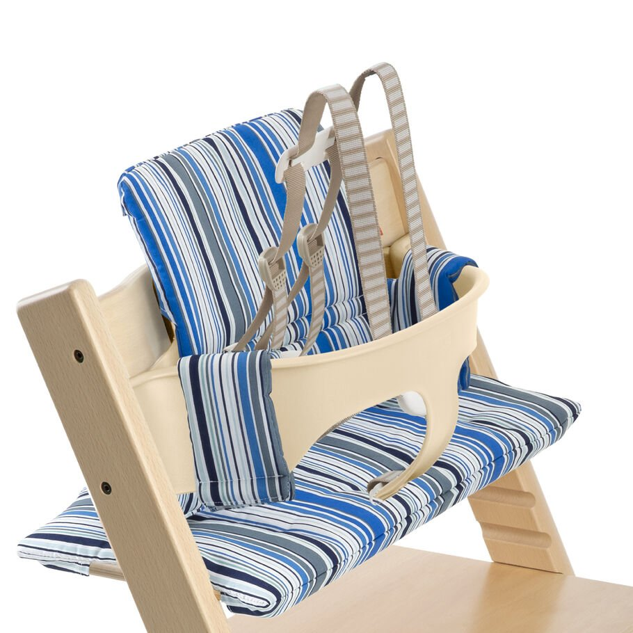Tripp Trapp® Natural with Baby Set and Ocean Stripe cushion. US version. Detail.