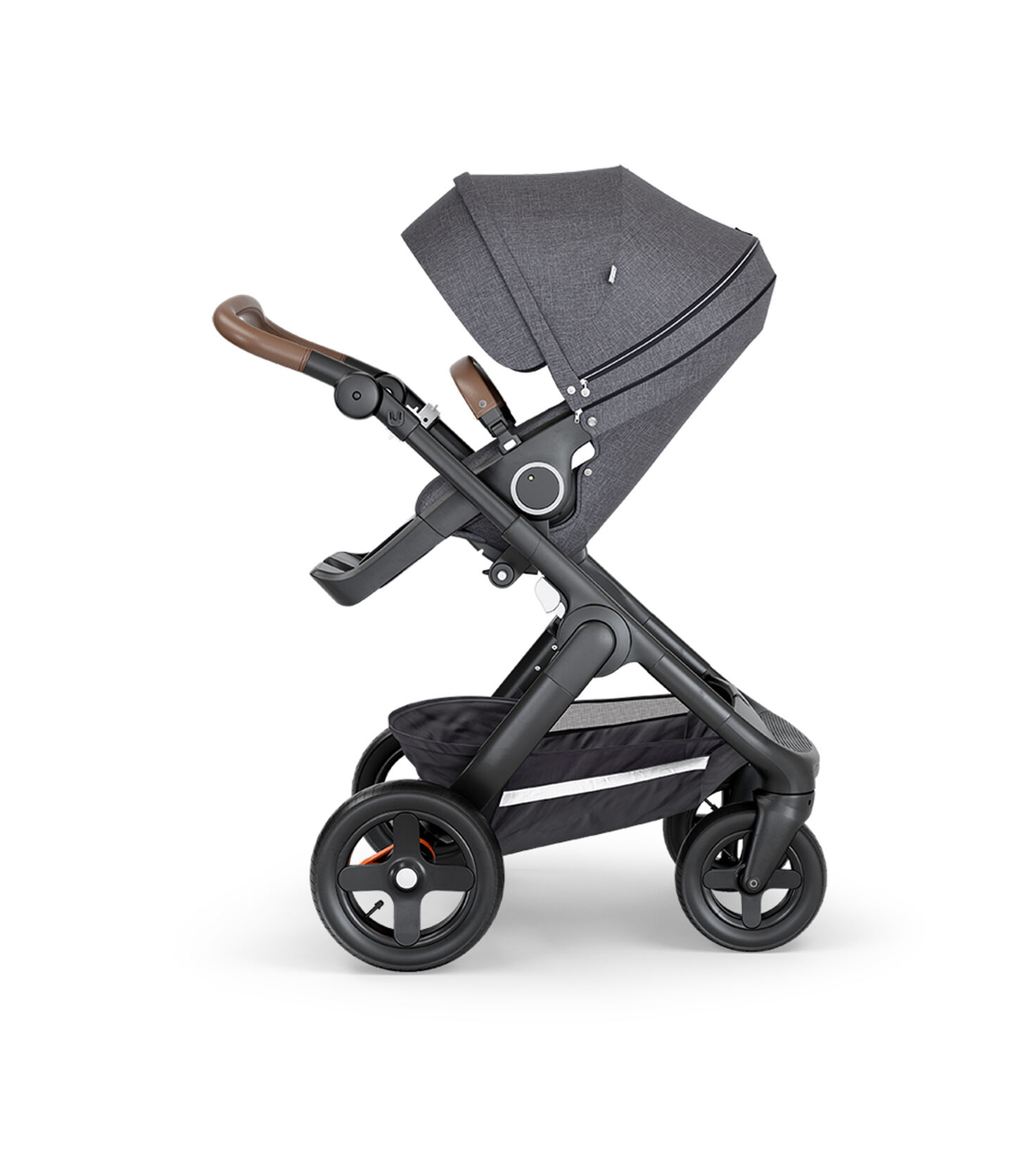 Stokke® Trailz™ with Black Chassis, Brown Leatherette and Terrain Wheels. Stokke® Stroller Seat, Black Melange. view 2