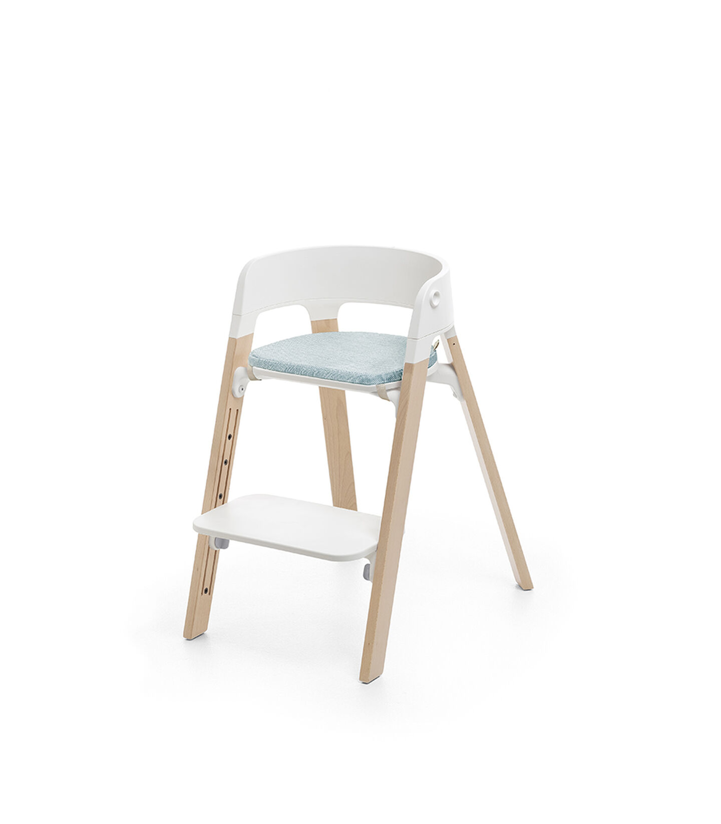 Stokke® Steps™ Natural, with Chair Cushion Jade Twill.