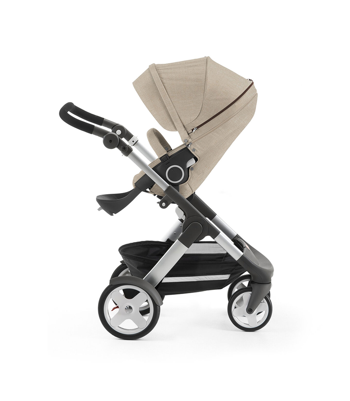 Stokke® Trailz™ with Stokke® Stroller Seat, Beige Melange. Classic Wheels. view 2