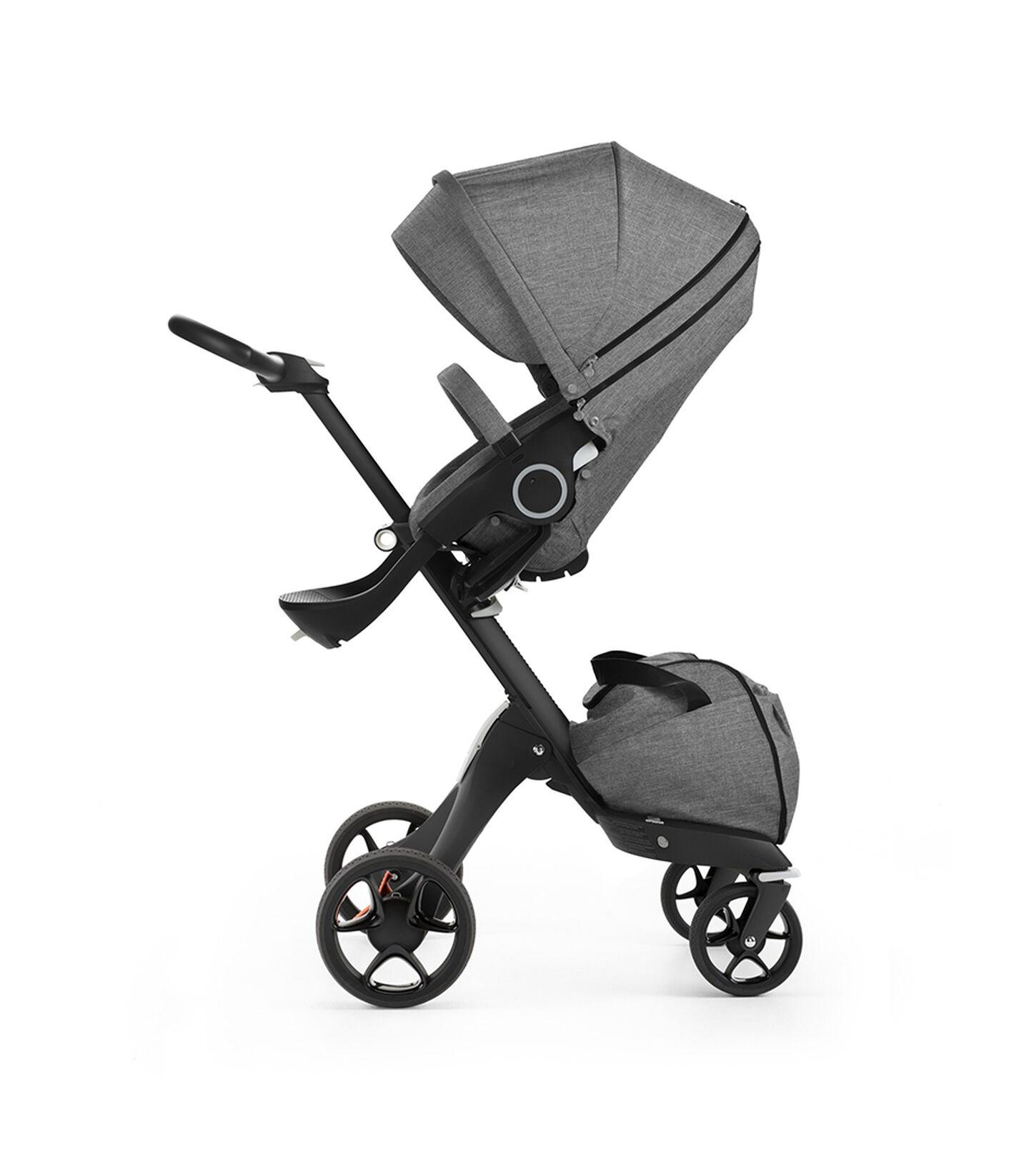 Stokke® Xplory® with Black chassis and Stokke® Stroller Seat, Black Melange. New wheels 2016.