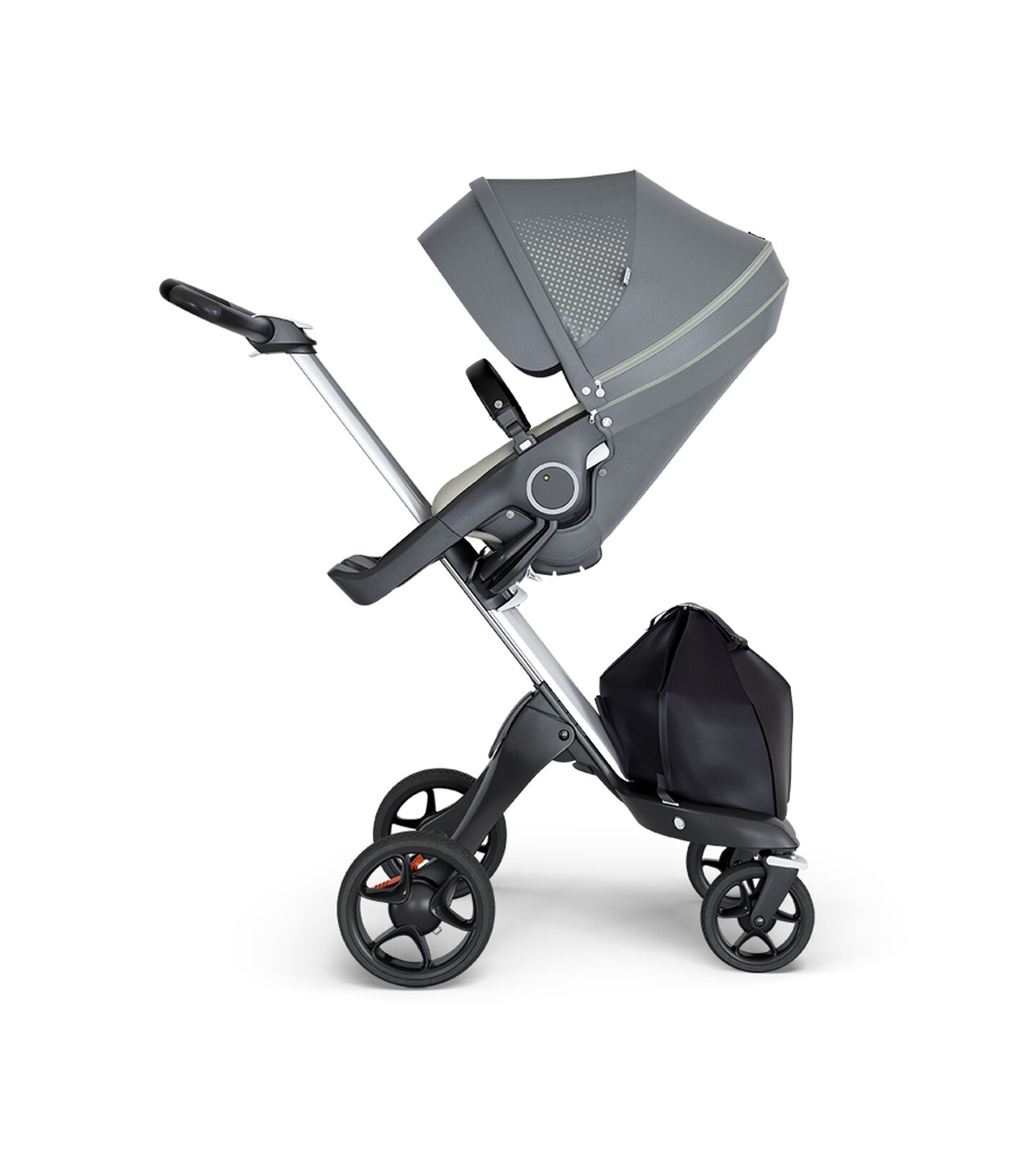 Stokke® Xplory® wtih Silver Chassis and Leatherette Black handle. Stokke® Stroller Seat Athleisure Green. view 1