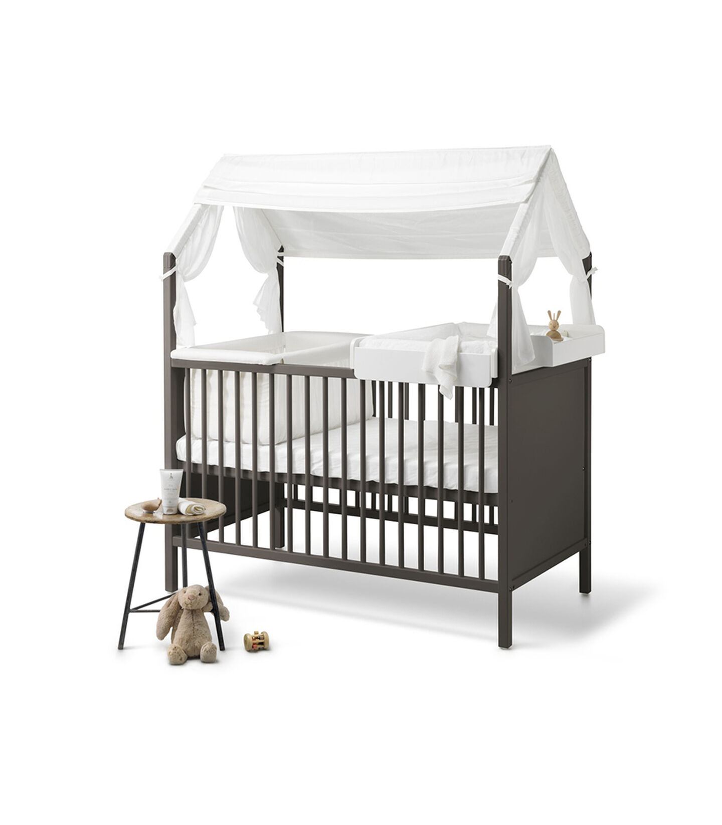 Stokke® Home Bed, Hazy Grey. With Cradle and Changer. Stokke® Home™ Roof textile, Natural