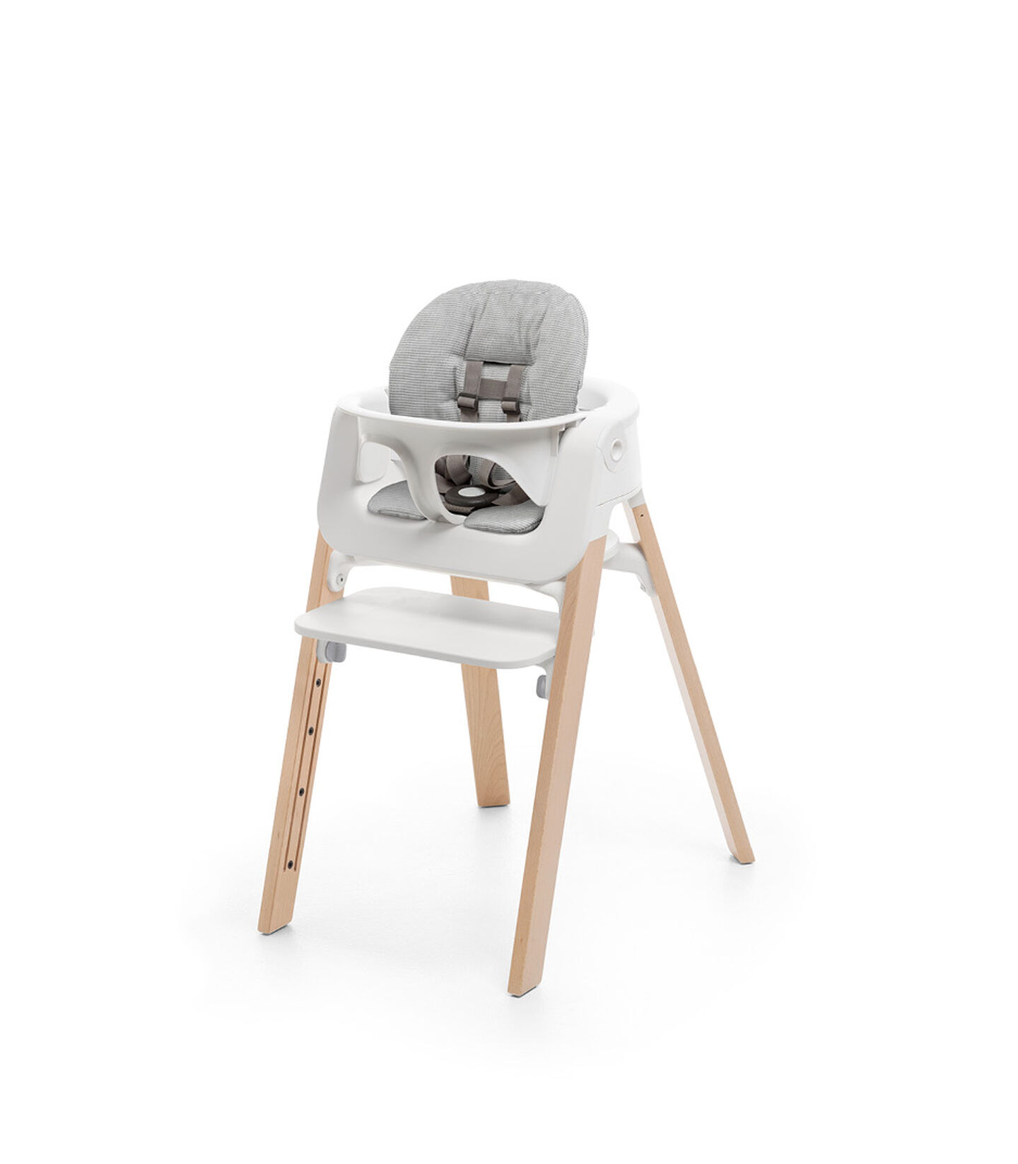 Stokke® Steps™ Chair Natural with Baby Set White and Cushion. Nordic Grey. view 3