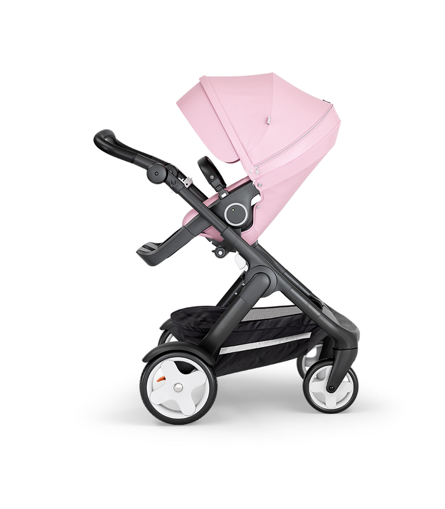 Stokke® Trailz™ with Black Chassis, Black Leatherette and Terrain Wheels. Stokke® Stroller Seat, Lotus Pink view 2