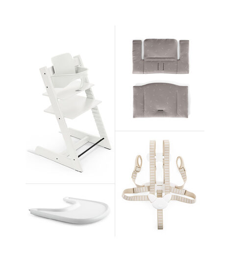 Tripp Trapp® HC Cpl White w Icon Grey Cushion & Tray, White, Icon Grey Cushion + Tray, mainview view 2