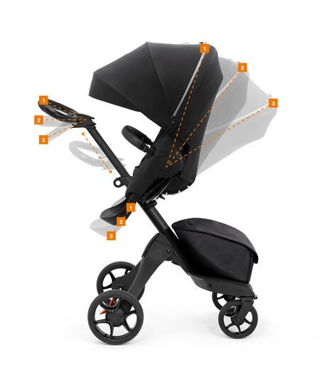 Stokke® Xplory® X Rich Black Stroller with Seat. Adjustments.  view 12