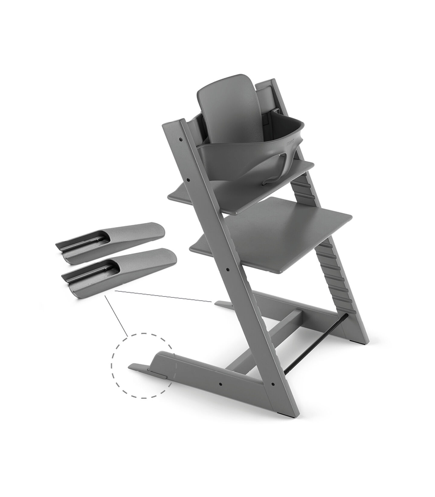 Tripp Trapp® Chair Storm Grey, Beech, with Baby Set. view 2