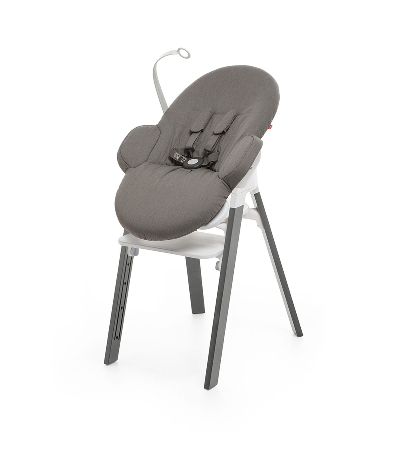 Bouncer, Greige. Mounted on Stokke Steps highchair.