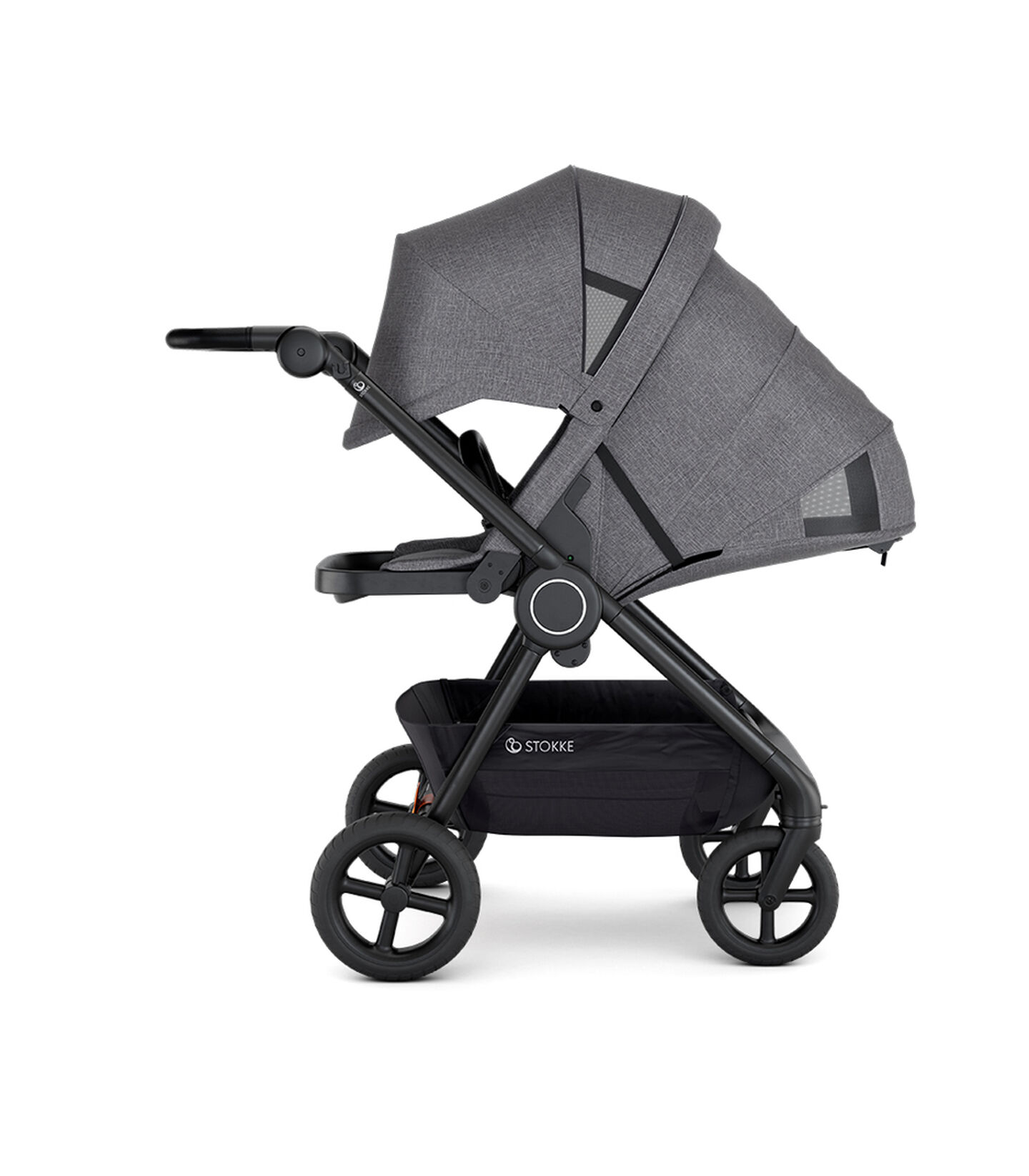Stokke® Beat™ with Seat. Black Melange. Parent facing. Extended Canopy. Sleep position.