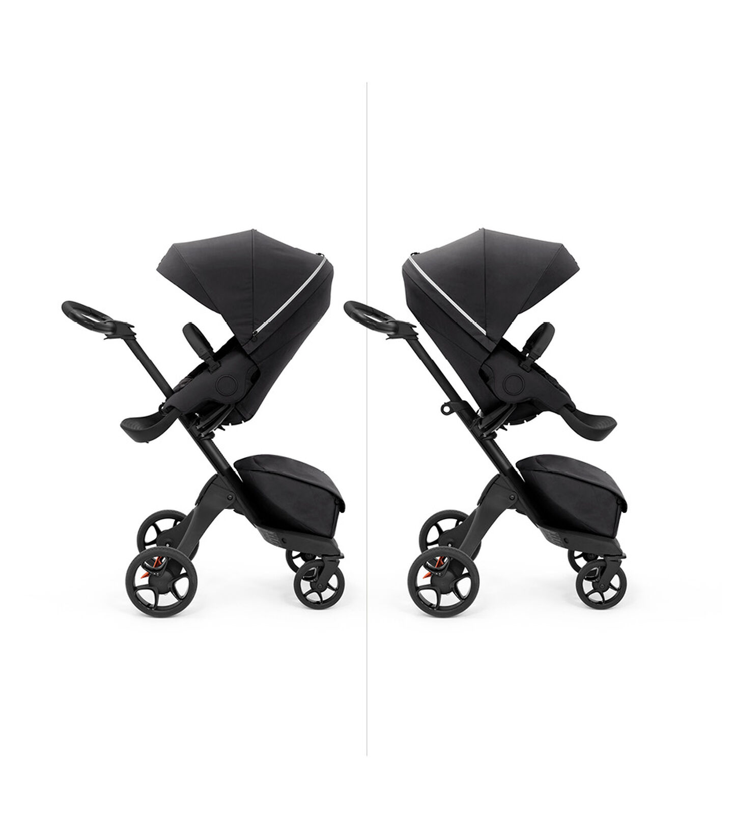Stokke® Xplory X with seat, Rich Black. Parent and forward facing. view 5