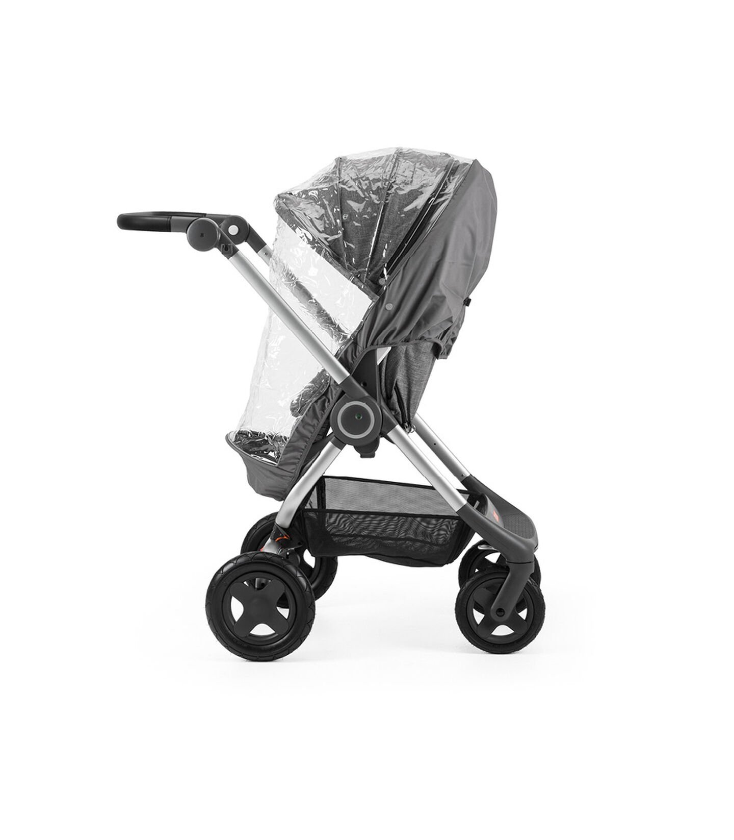 Stokke® Scoot™ Black Melange. Leatherette handle. Parent facing, active position. Rain Cover. view 2