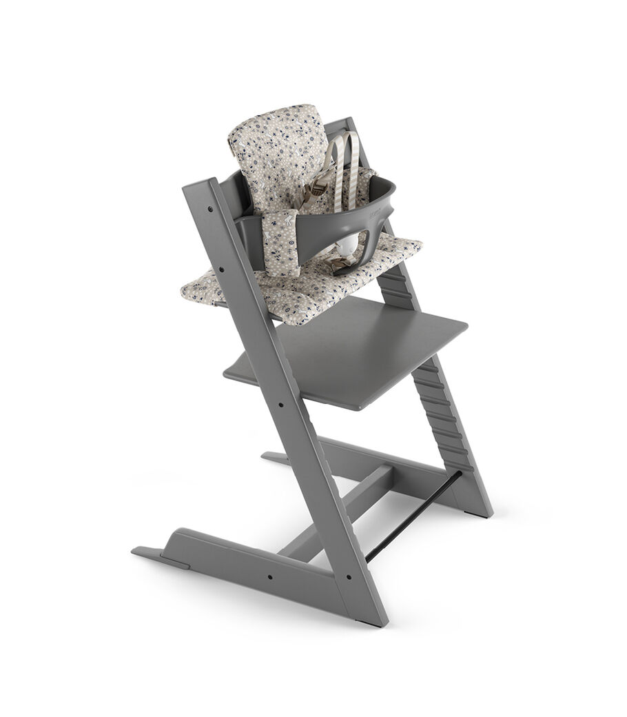 Tripp Trapp® Storm Grey with Baby Set and Classic Cushion Garden Bunny.