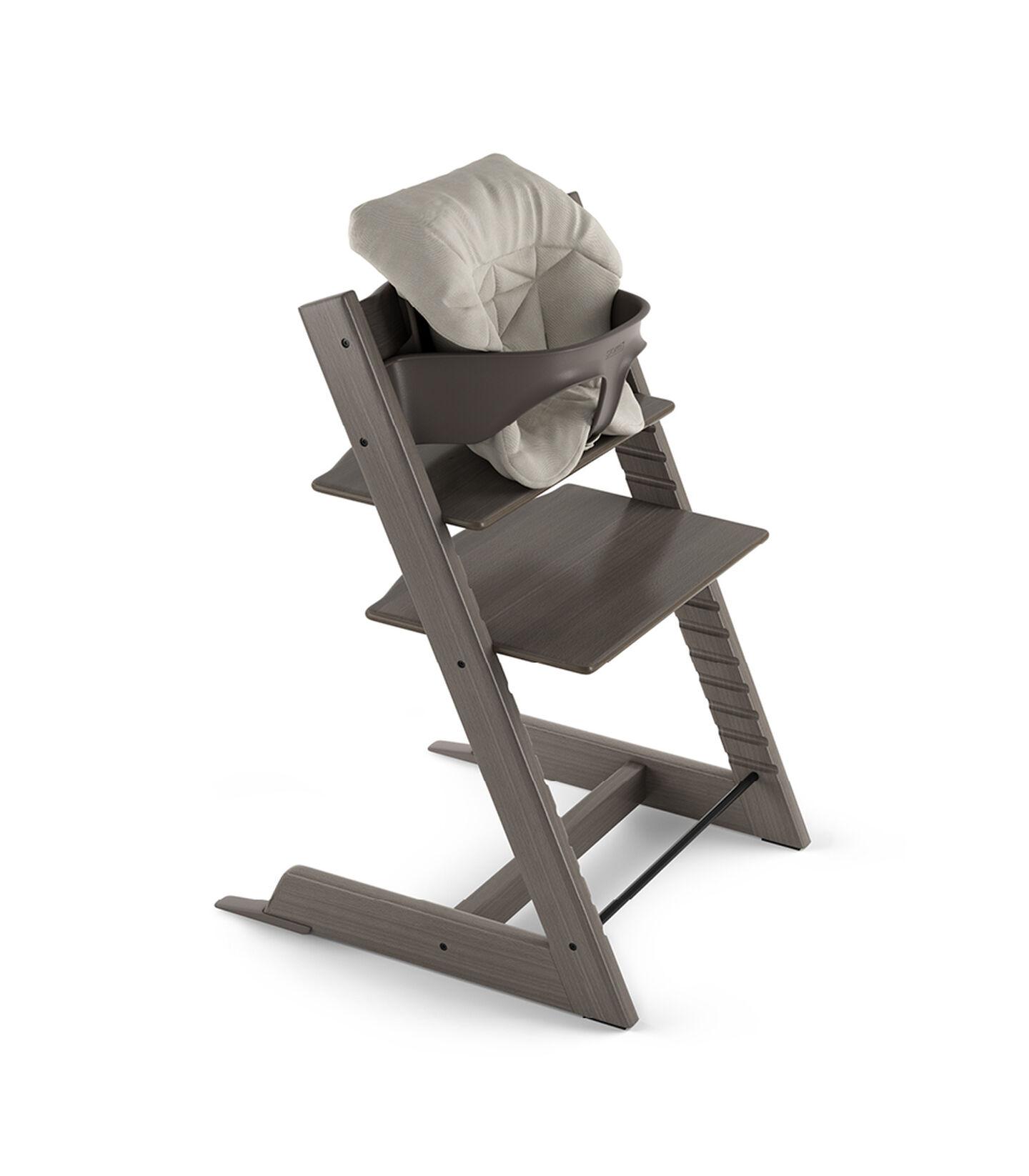 Tripp Trapp® Hazy Grey with Baby Set and Baby Cushion Timeless Grey.