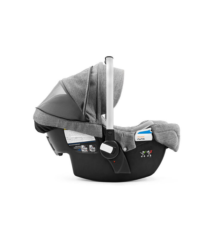 Stokke® PIPA™ By Nuna®, Black Melange. Hood ventilation open. US.