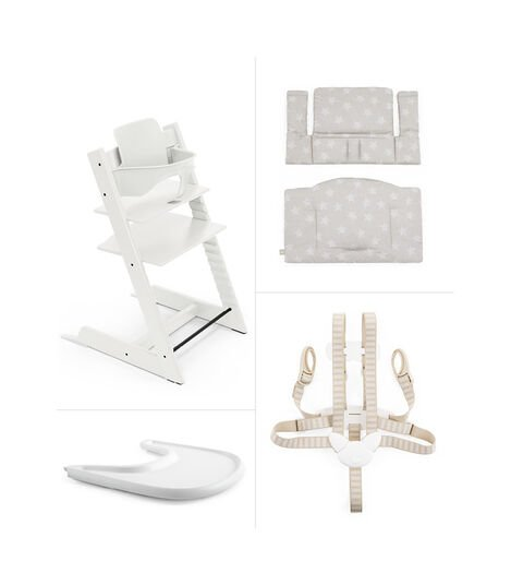 Tripp Trapp® HC Cpl White w Silver Stars Cushion & Tray, White w/Silver star, mainview view 2