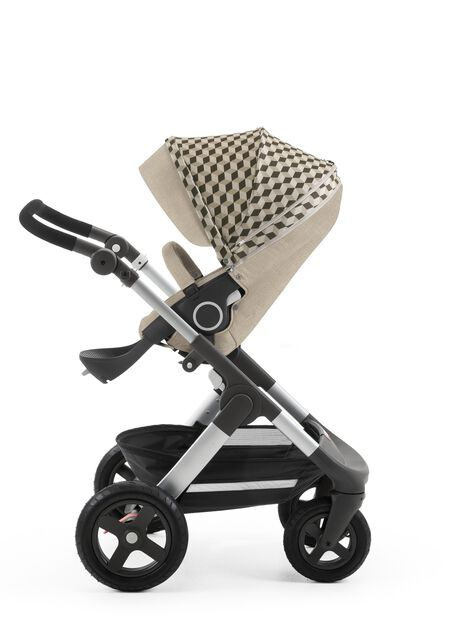 Stokke® Stroller Seat Style Grey Cube with Stokke® Trailz™ chassis, Beige Melange.
