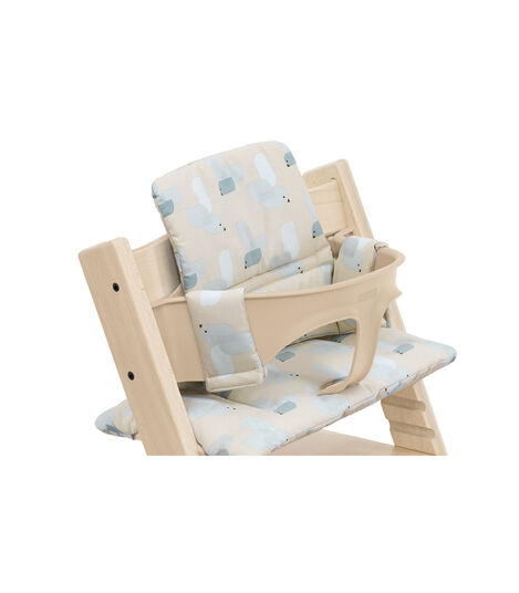 Tripp Trapp® High Chair Natural with Baby Set and Classic Cushion Birds Blue. Detail. view 6