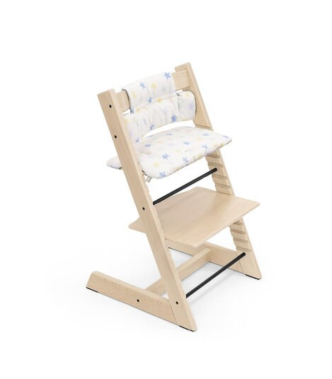 Tripp Trapp® High Chair Natural with Baby Set and Classic Cushion Stars Multi. view 6