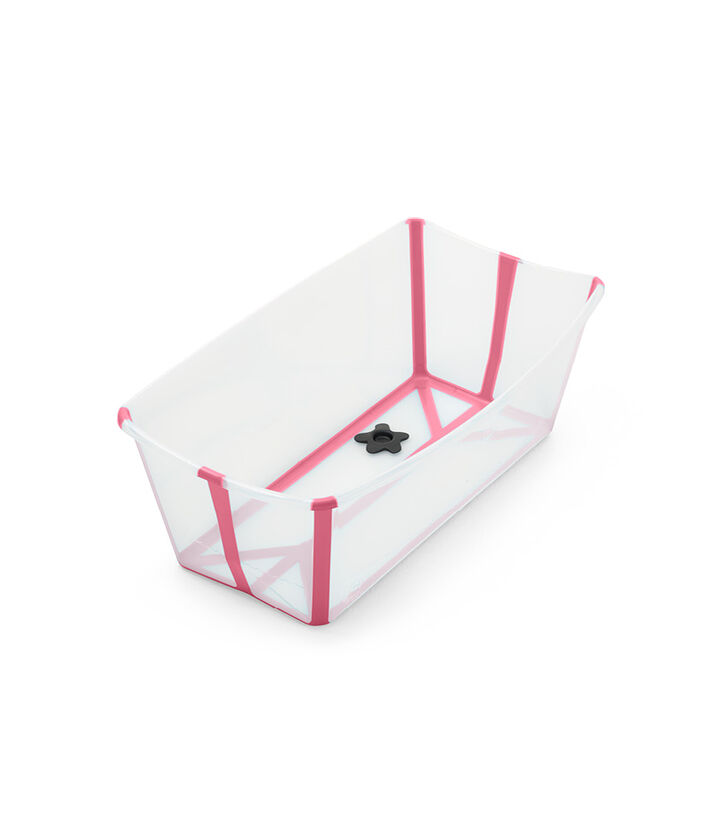 Stokke® Flexi Bath® bath tub, Transparent Pink. Open. view 1