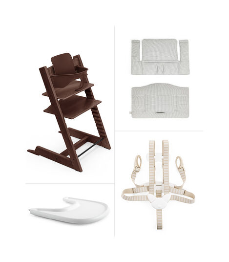 Tripp Trapp® HC Complete Walnut w Nordic Grey and Tray, Walnut Brown, Nordic Grey Cushion + Tray, mainview view 2