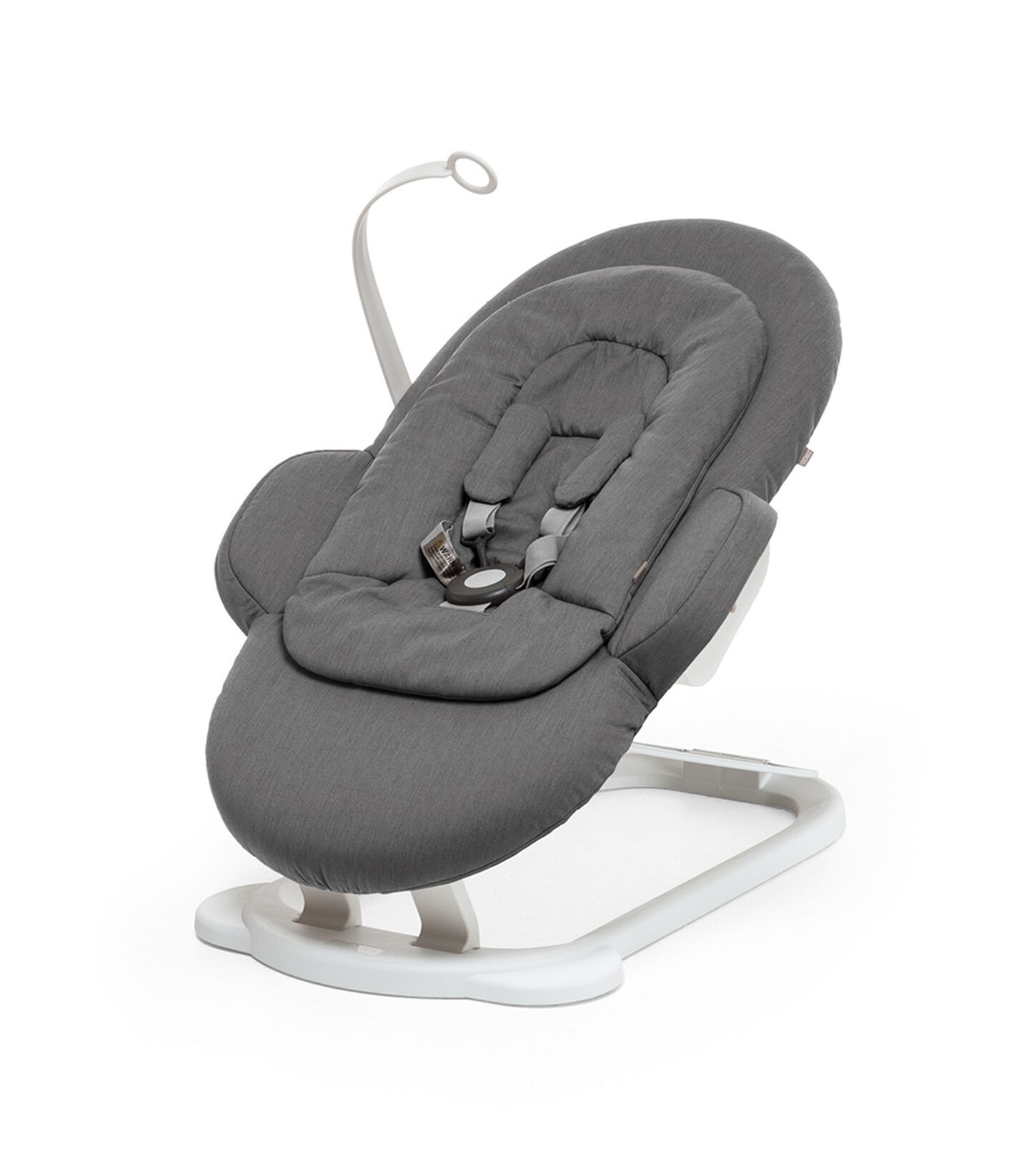 Stokke® Steps Bouncer in Deep Grey with White Base and Toy Hanger. view 1