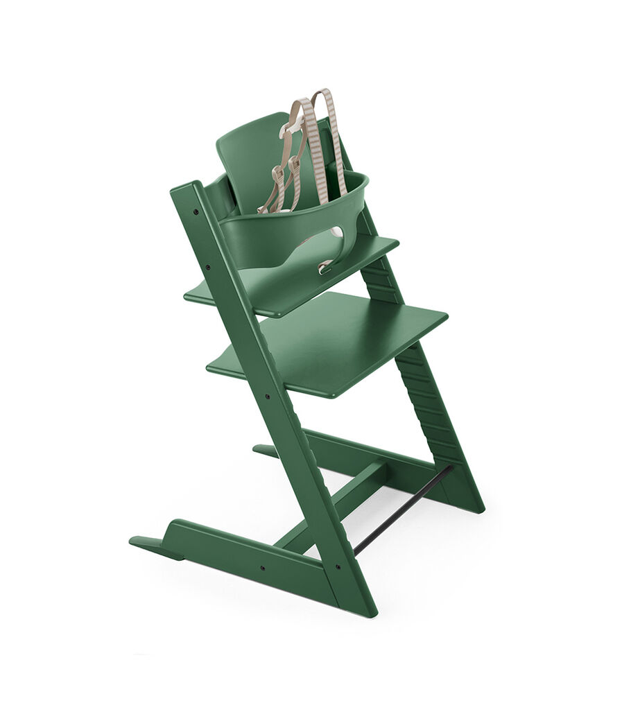 Tripp Trapp® Natural with Tripp Trapp® Baby Set, Forest Green. USA version.