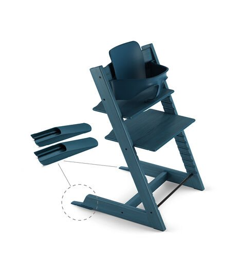 Tripp Trapp® Chair Midnight Blue, Beech, with Baby Set.