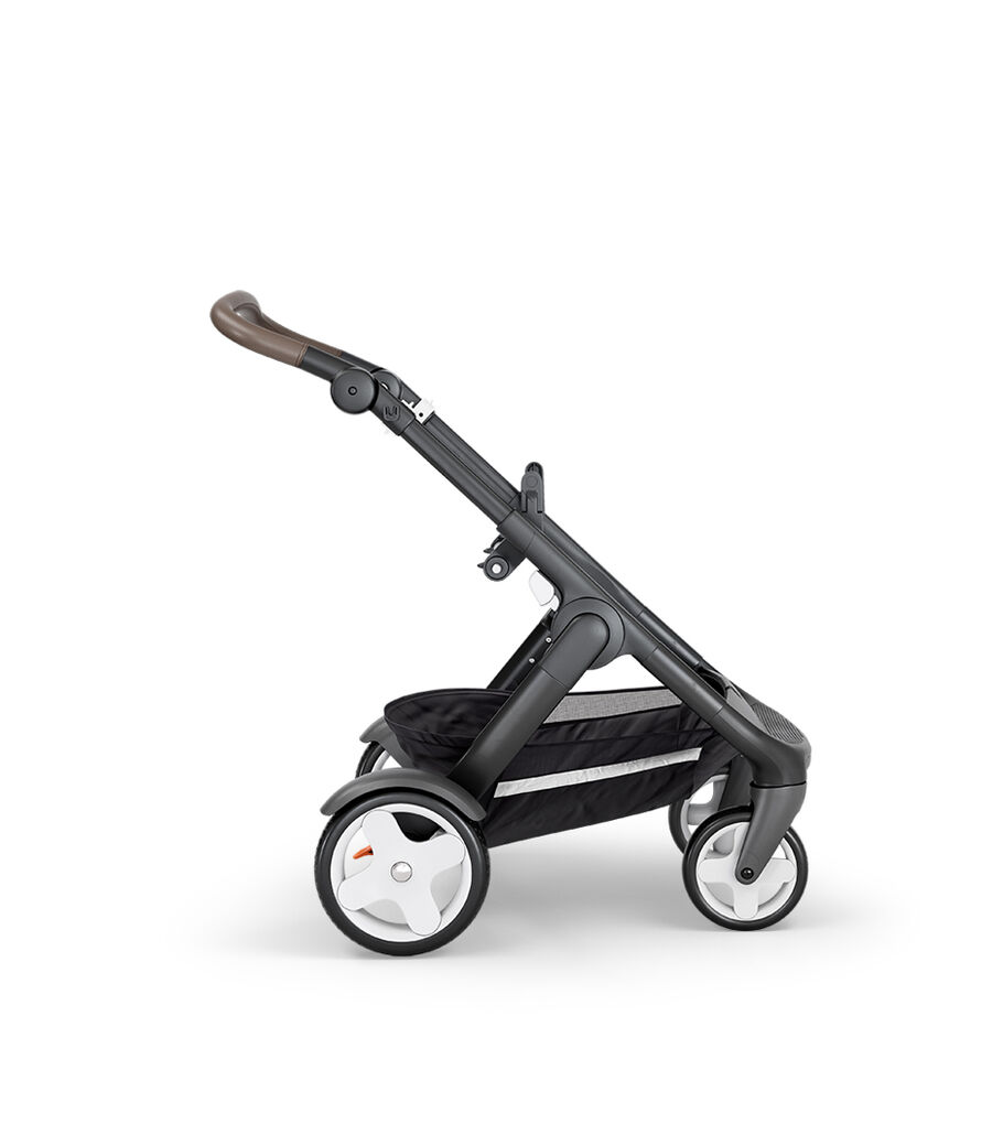 Stokke® Trailz™ with Black Chassis, Brown Leatherette and Classic Wheels.