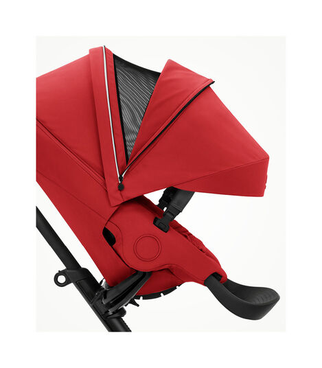 Stokke® Xplory® X Ruby Red Stroller with Seat.  Forward Facing.  Extended Canopy Open Ventilation. view 3