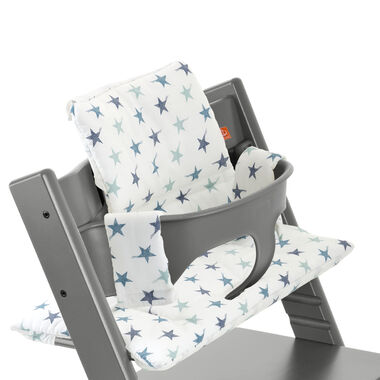 Tripp Trapp® Storm Grey with Baby Set and Aqua Star cushion. Detail.