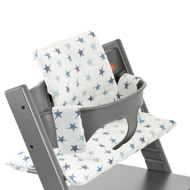 Tripp Trapp짰 Storm Grey with Baby Set and Aqua Star cushion. Detail.
