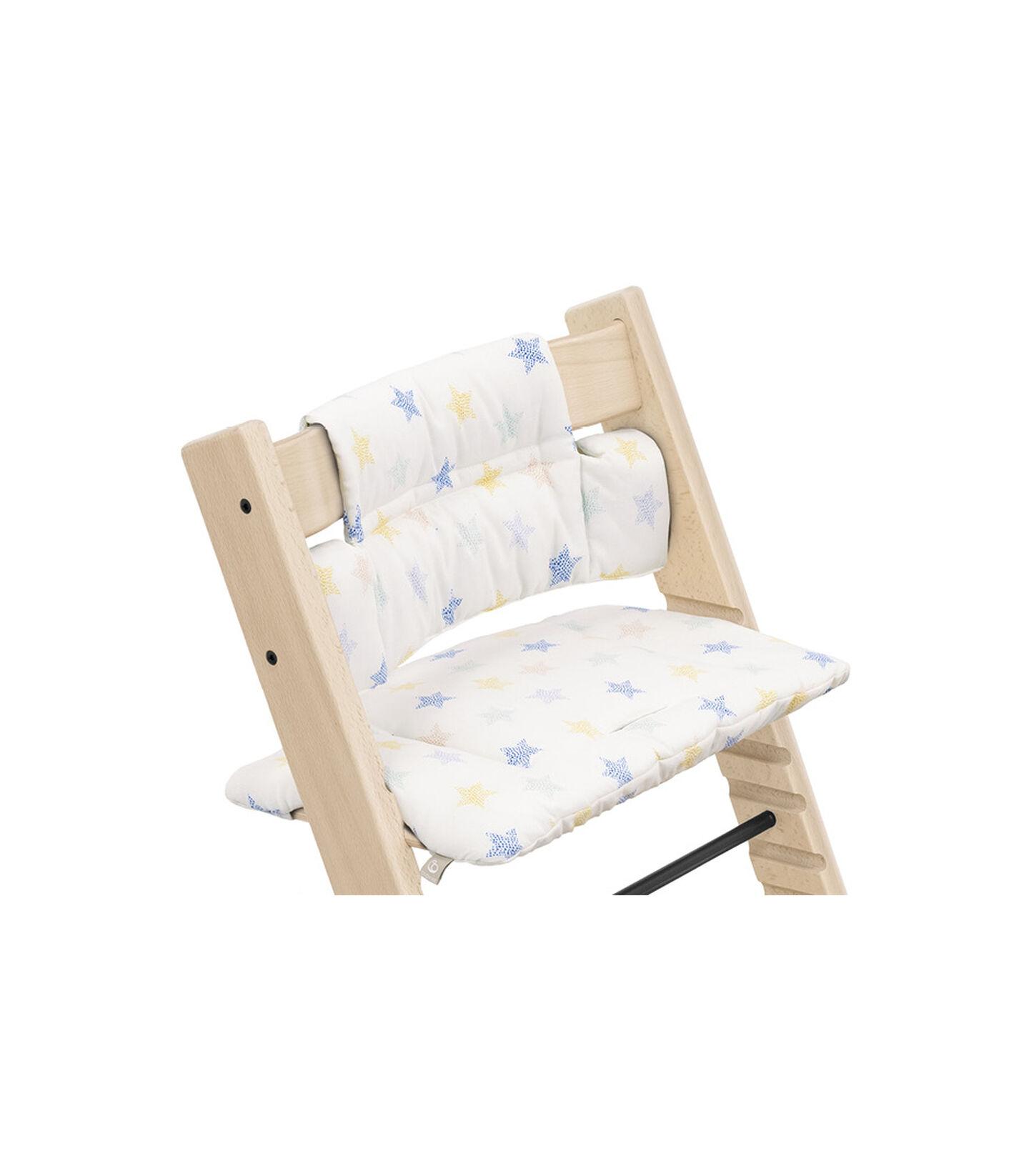 Tripp Trapp® Chair Natural with Classic Cushion Stars Multi. Detail. view 1