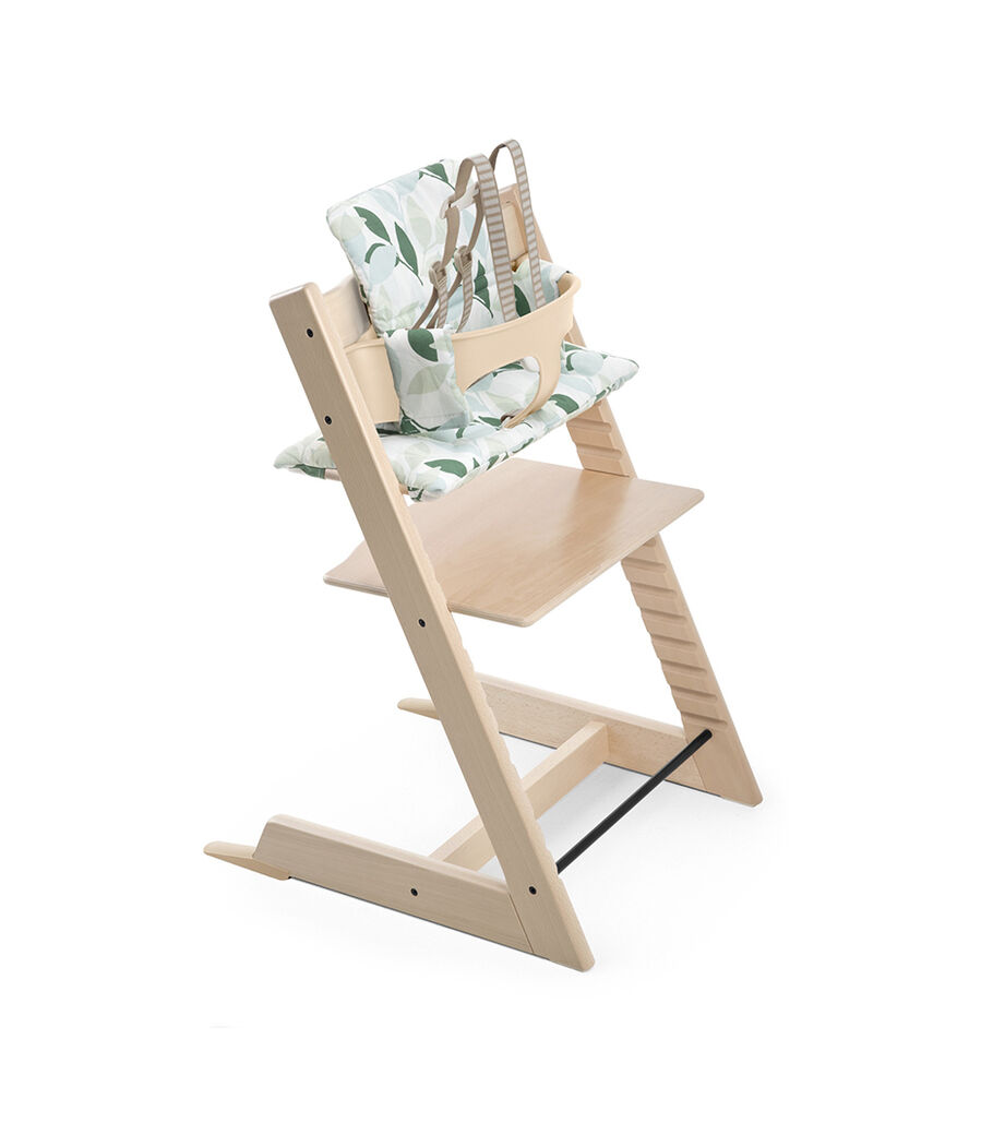 Tripp Trapp® Natural with Tripp Trapp® Baby Set, Natural and Cushion Forest Green. US version.