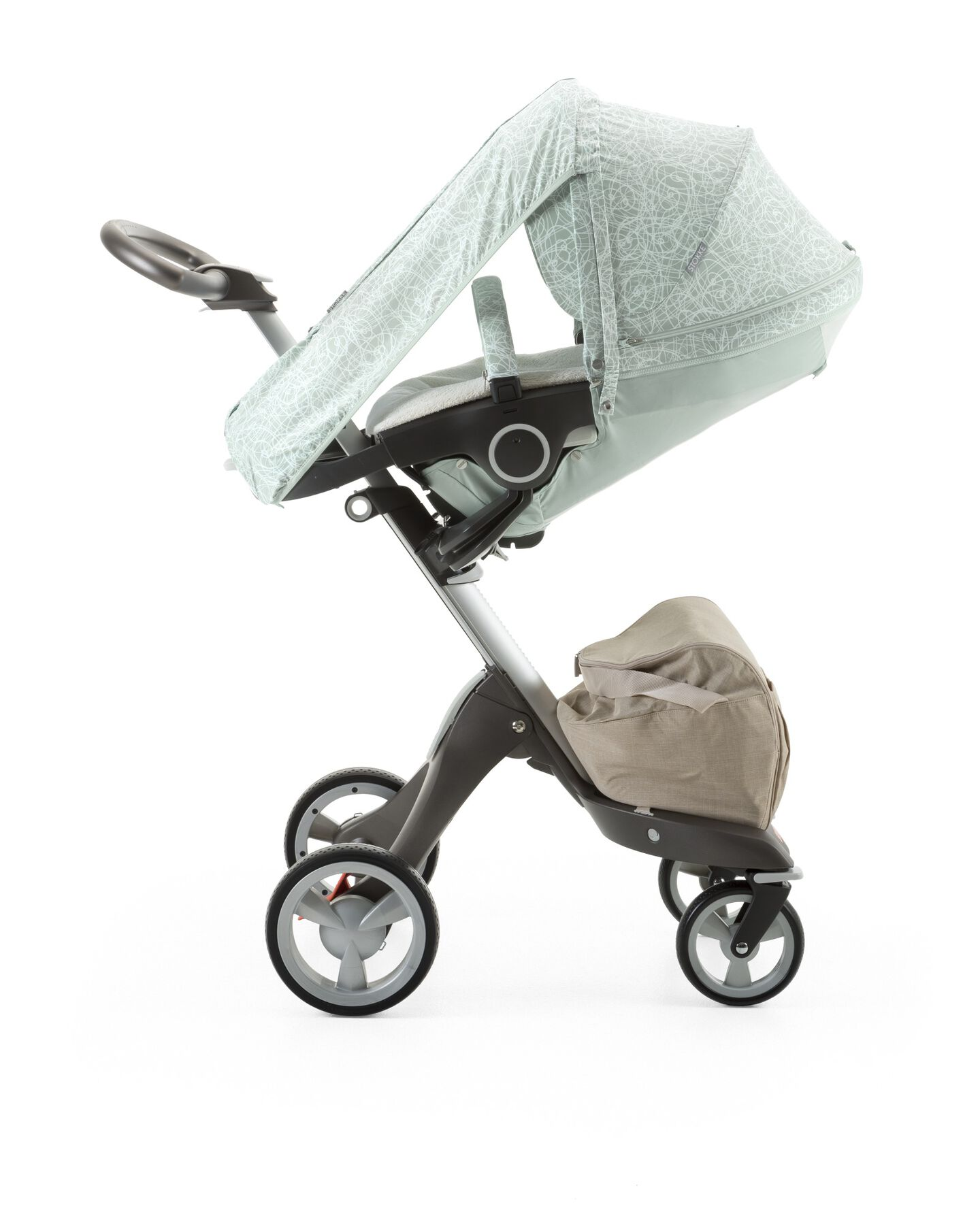 Stokke® Xplory® with Stokke® Stroller Summer Kit Scribble Salty Blue.