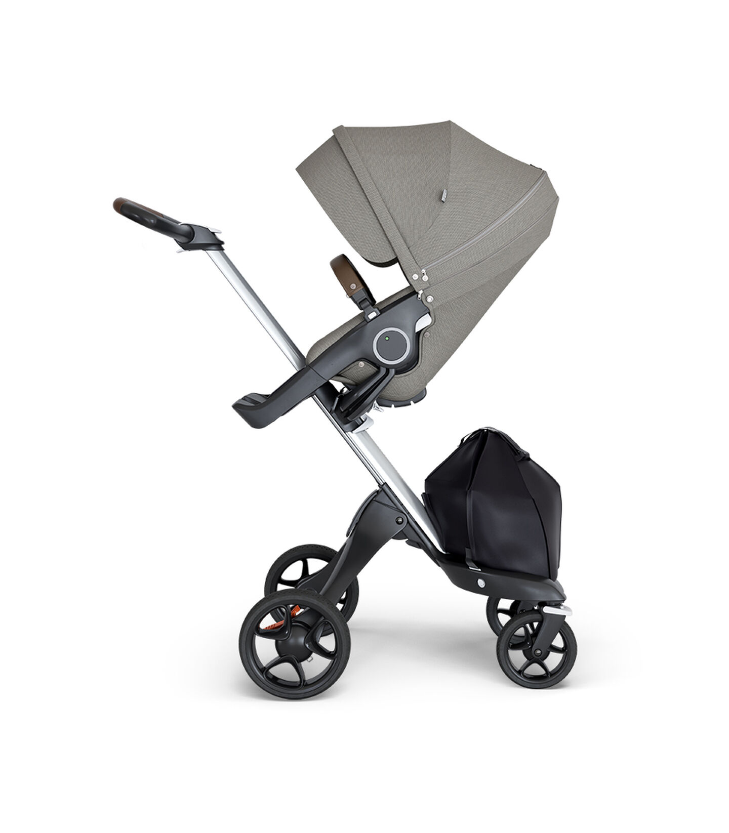 Stokke® Xplory® wtih Silver Chassis and Leatherette Brown handle. Stokke® Stroller Seat Seat Brushed Grey. view 1