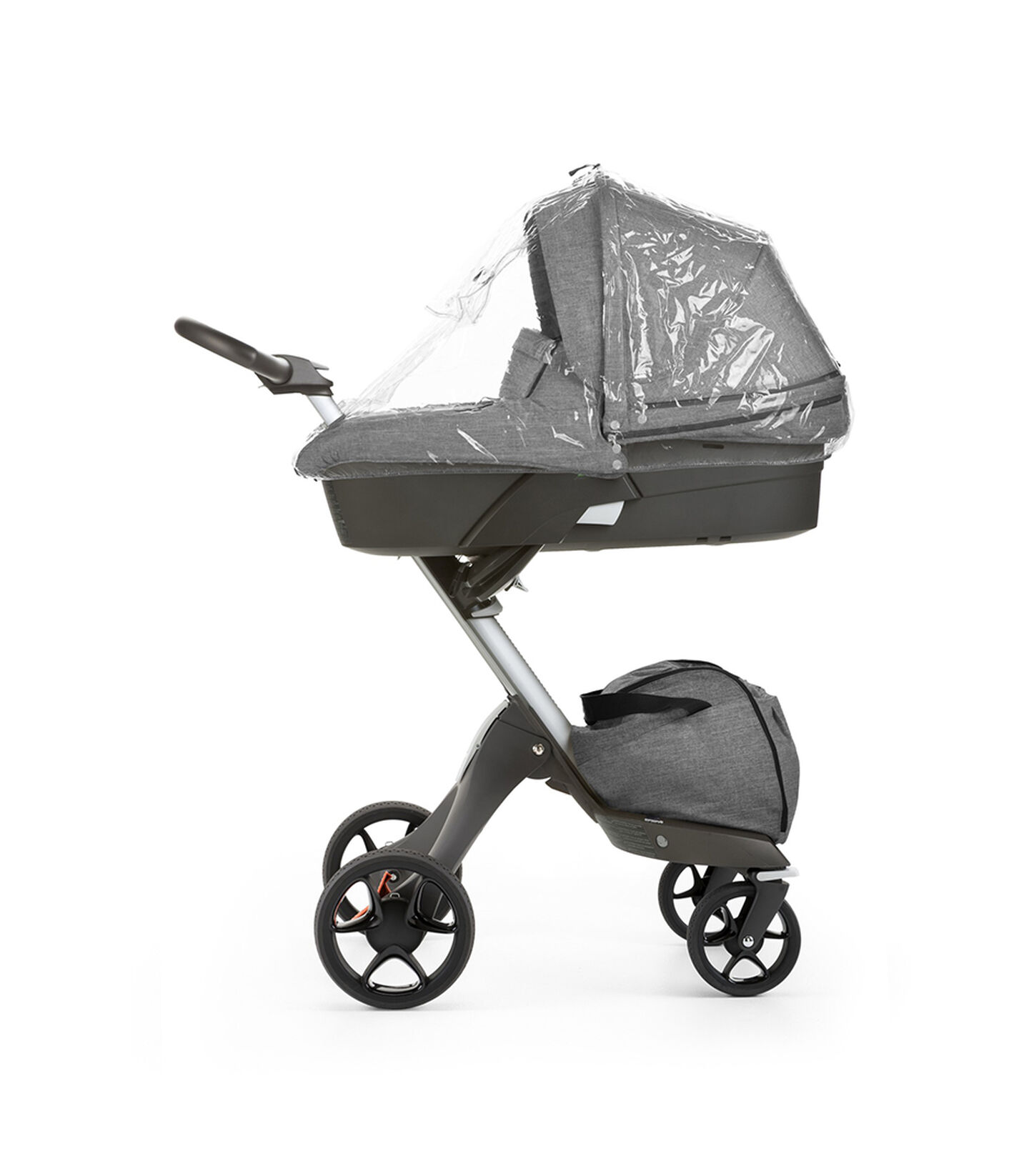 Stokke® Xplroy® with Carry Cot Black Melange and rain cover. New wheels 2016.