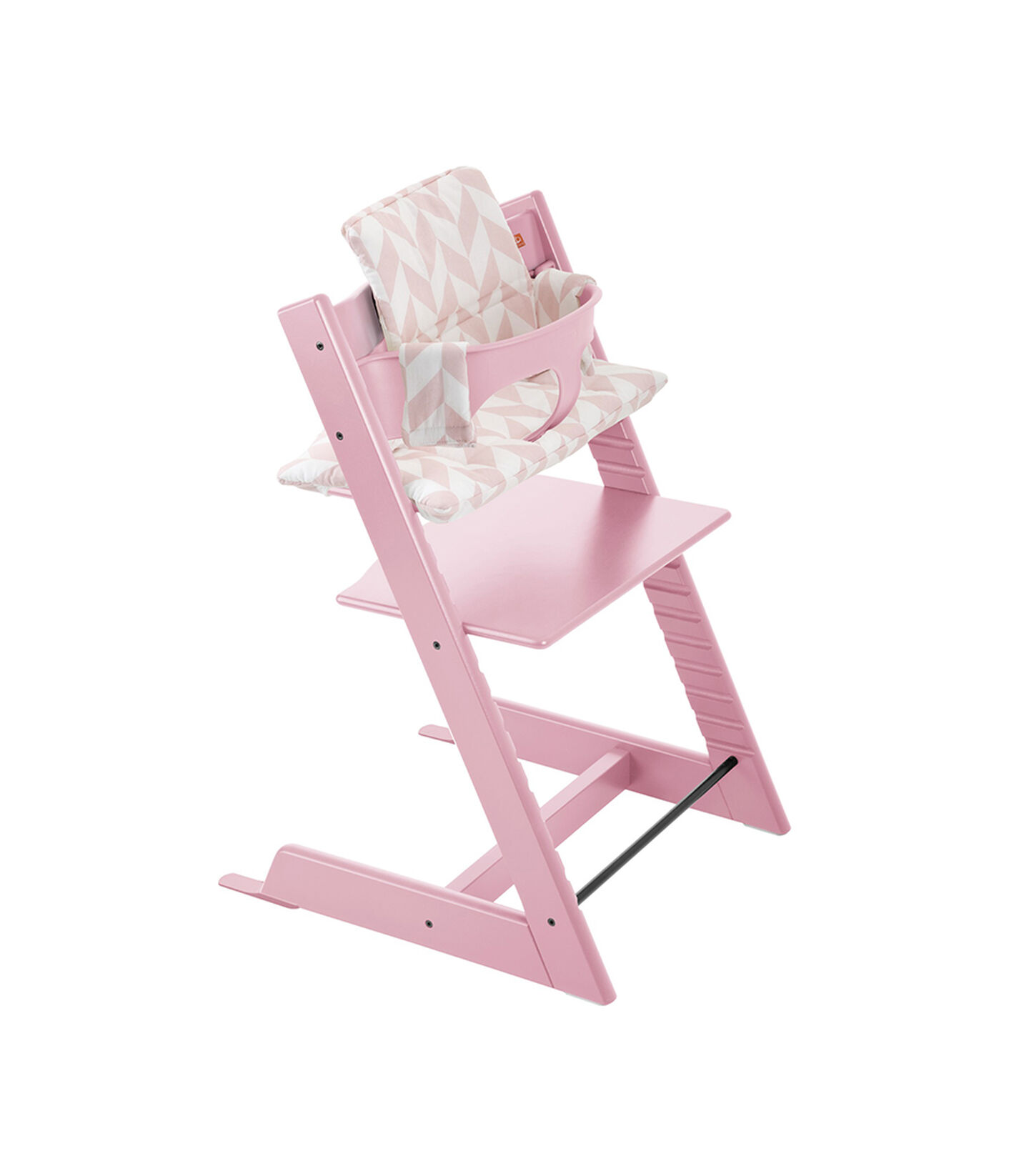 Tripp Trapp® Pink with Baby Set and Pink Chevron Cushion.