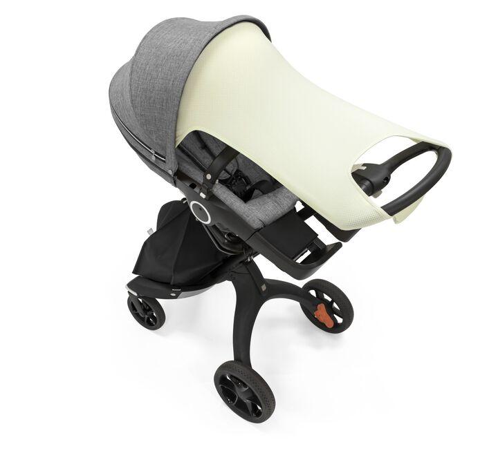 Stokker® Stroller Sun Shade Light Pistachio. Stokke® Xplory® 6 with Stokke® Stroller Seat, Grey Melange.