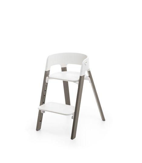 Stokke® Steps™ Chair White Seat Hazy Grey Legs, Hazy Grey, mainview view 3