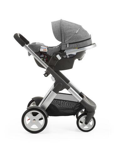 Stokke® PIPA™ By Nuna® car seat Black Melange. Mounted on Stokke® Crusi™. (USA only).
