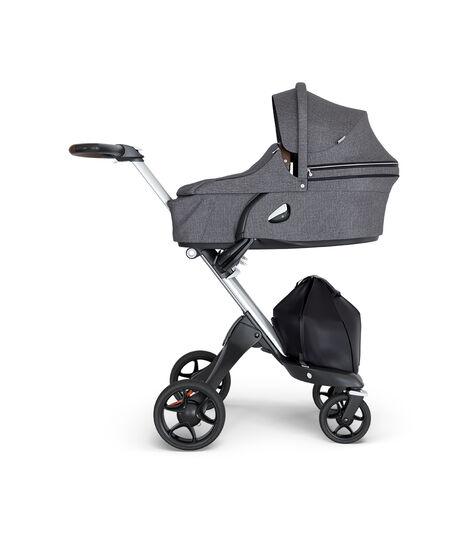 Stokke® Xplory® 6 Silver Chassis - Brown Handle Black Melange, Negro Melange, mainview view 2