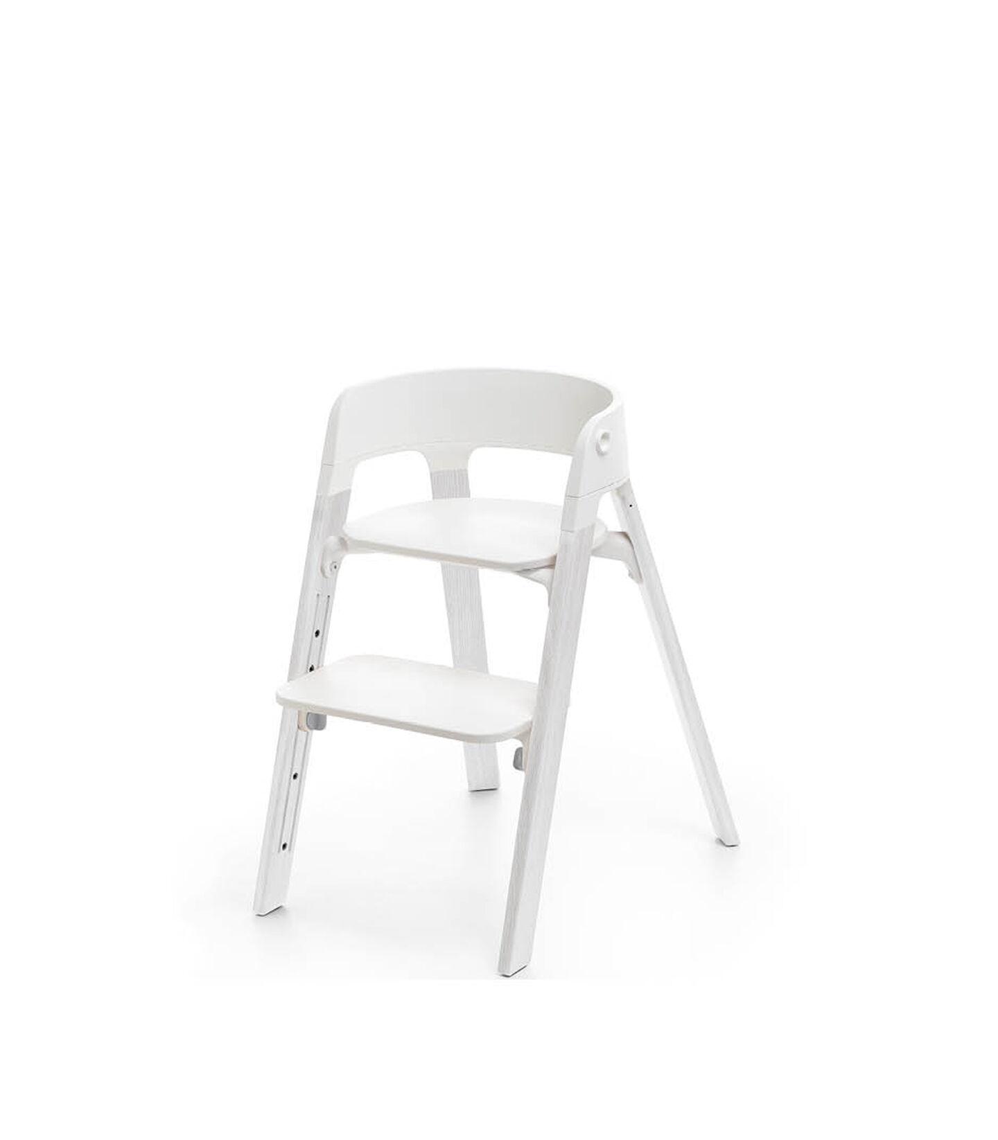 Stokke® Steps™ Chair White Seat Oak White Legs, Oak White, mainview view 2