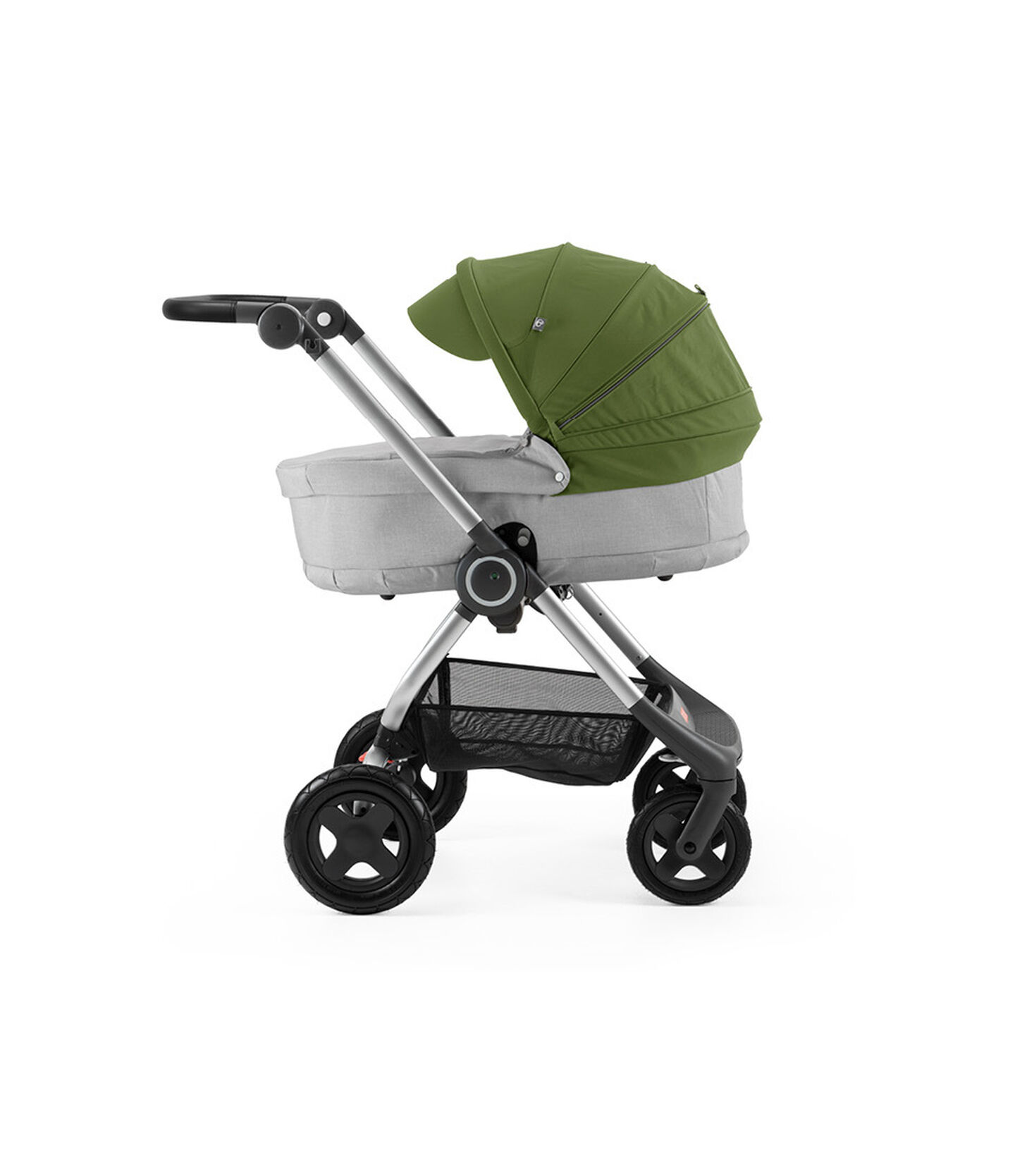 Stokke® Scoot™ with Carry Cot, Grey Melange and Green Canopy.
