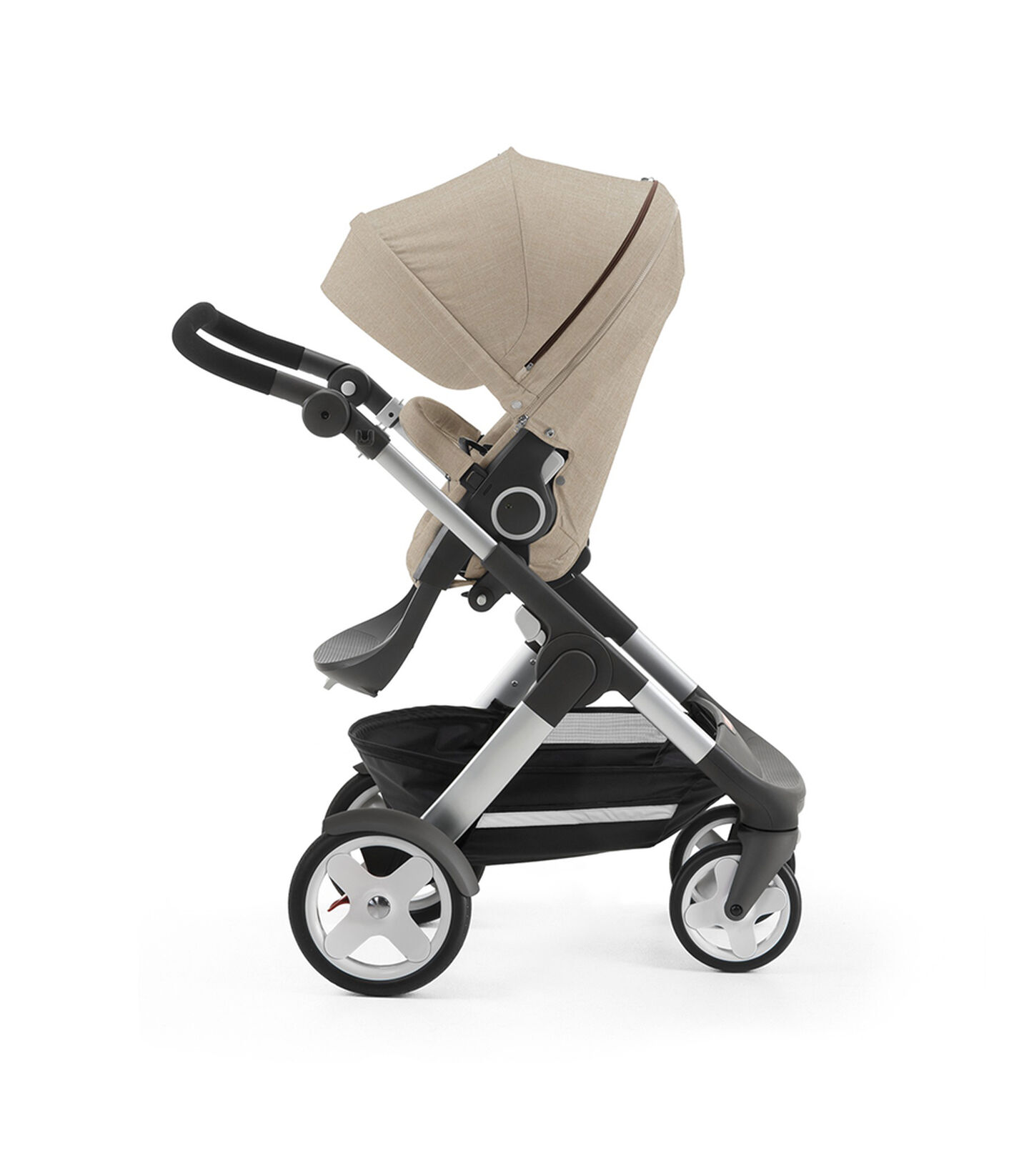 Stokke® Trailz with Stokke® Stroller Seat, parent facing, rest position. Beige Melange.