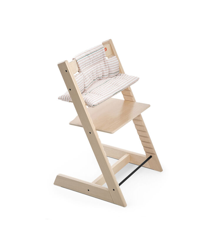 Tripp Trapp® Natural with Cushion Pink Stripes.