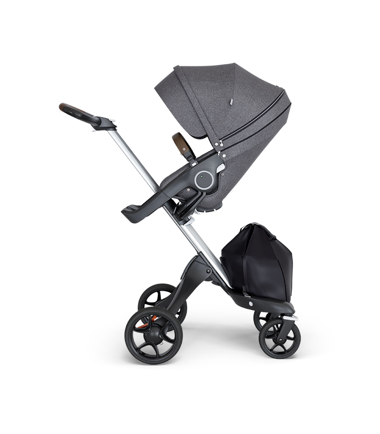 Stokke® Xplory® wtih Silver Chassis and Leatherette Brown handle. Stokke® Stroller Seat Black Melange. view 2